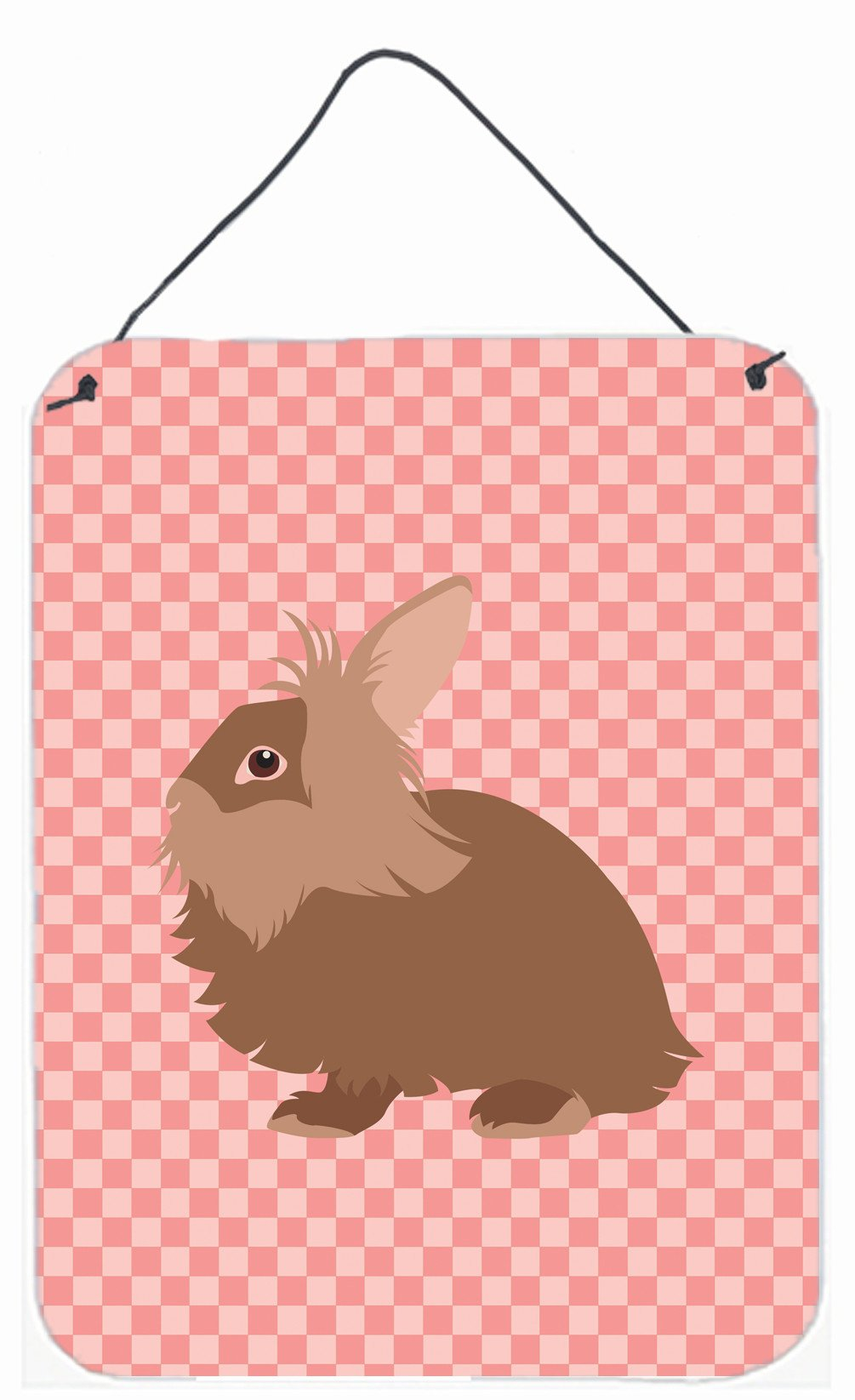 Lionhead Rabbit Pink Check Wall or Door Hanging Prints BB7960DS1216 by Caroline's Treasures