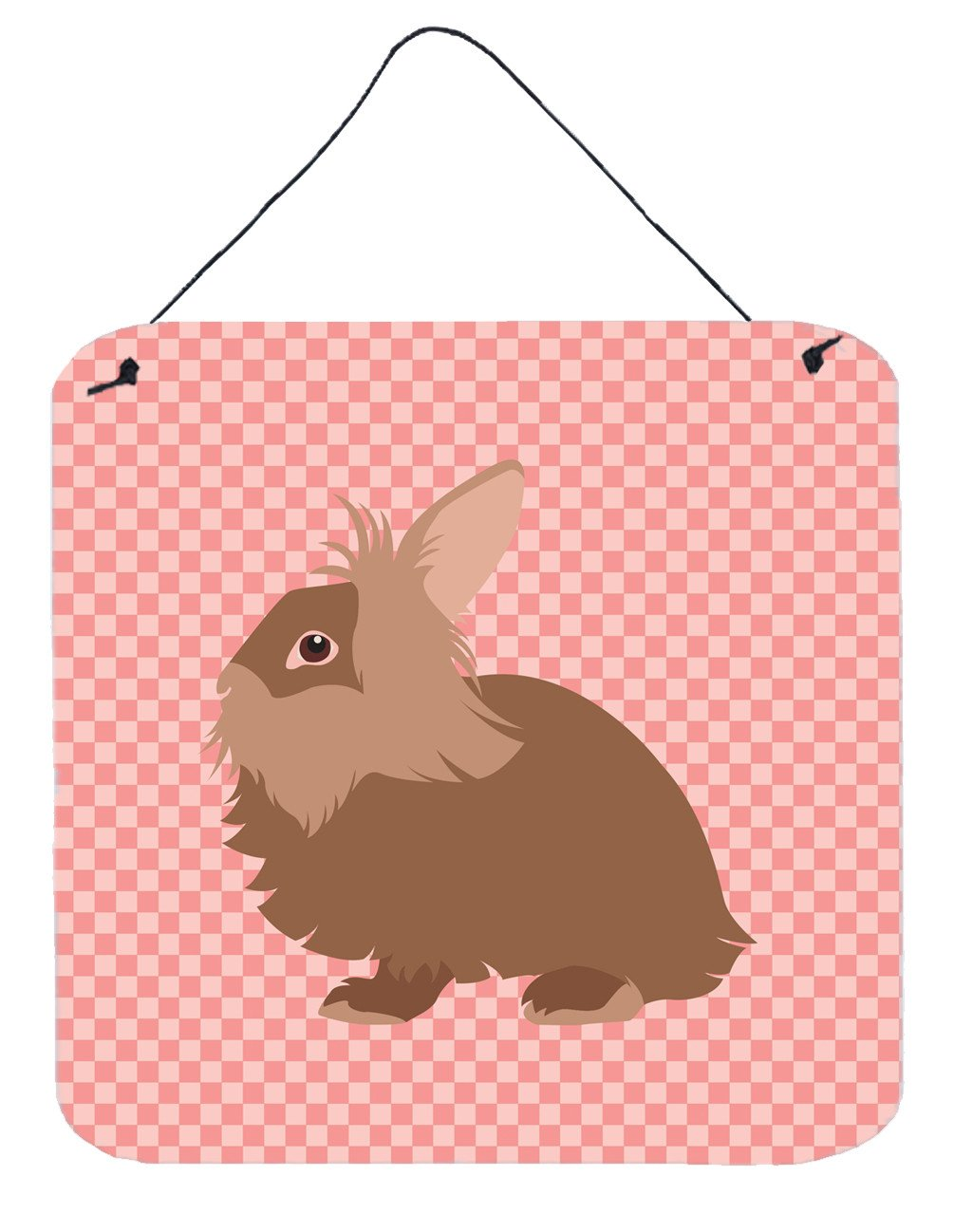 Lionhead Rabbit Pink Check Wall or Door Hanging Prints BB7960DS66 by Caroline's Treasures