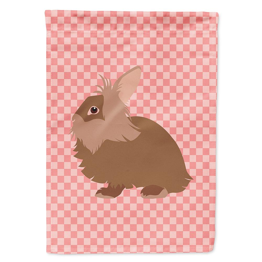 Lionhead Rabbit Pink Check Flag Garden Size by Caroline's Treasures