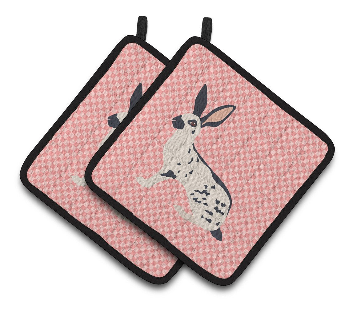 English Spot Rabbit Pink Check Pair of Pot Holders BB7961PTHD by Caroline's Treasures