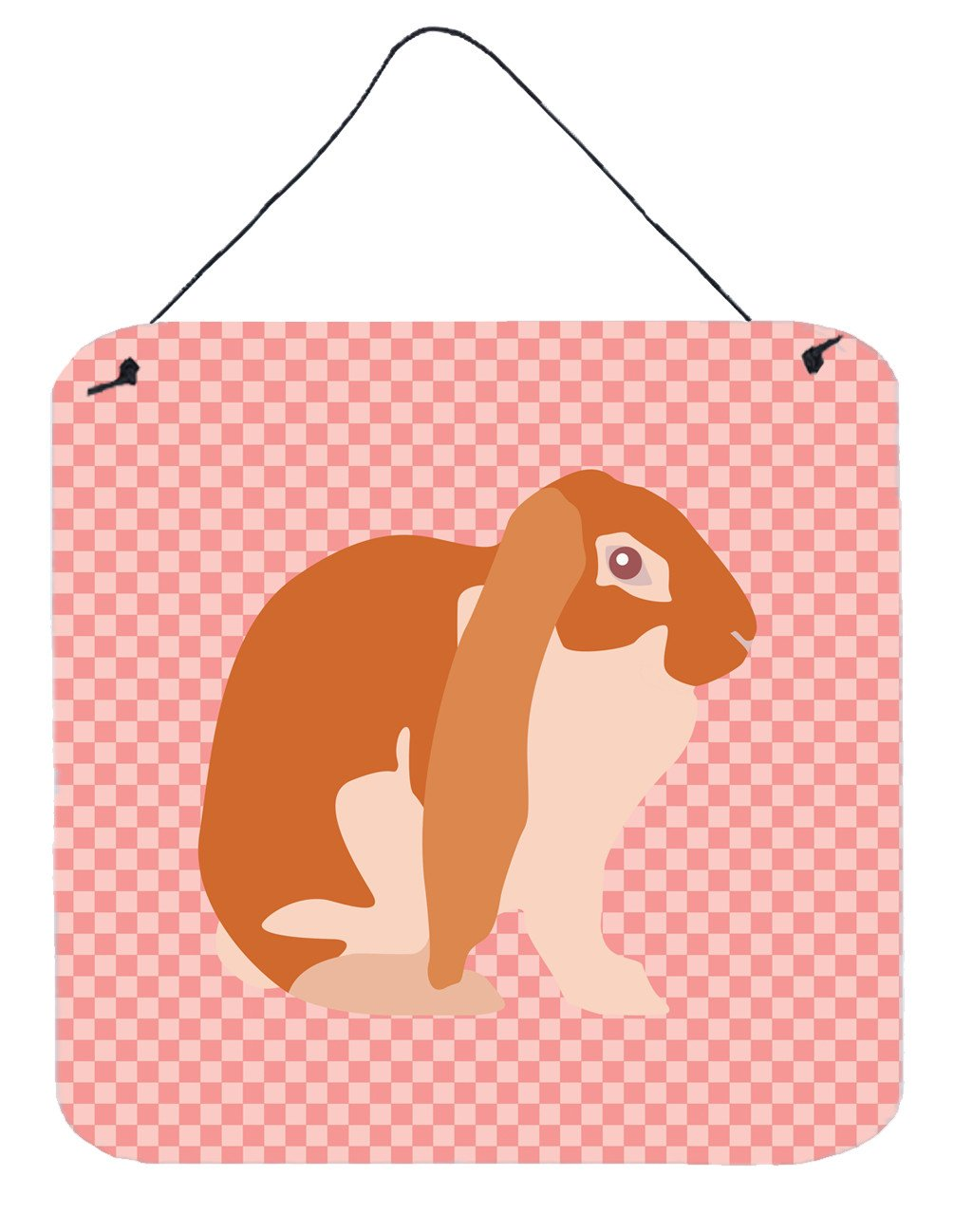 English Lop Rabbit Pink Check Wall or Door Hanging Prints BB7962DS66 by Caroline's Treasures