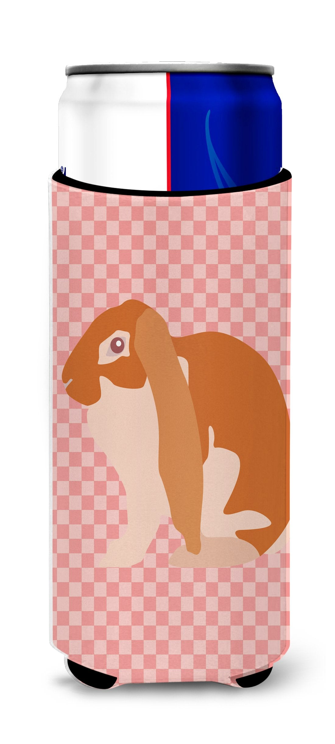 English Lop Rabbit Pink Check Michelob Ultra Hugger for slim cans by Caroline's Treasures