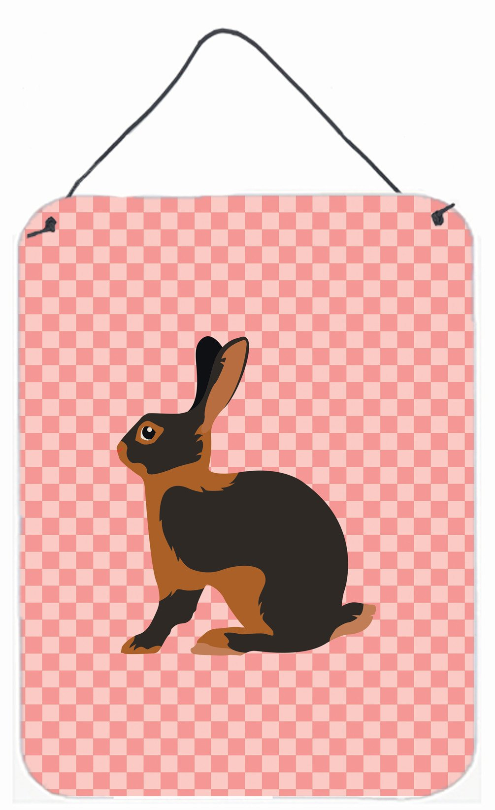 Tan Rabbit Pink Check Wall or Door Hanging Prints BB7963DS1216 by Caroline's Treasures
