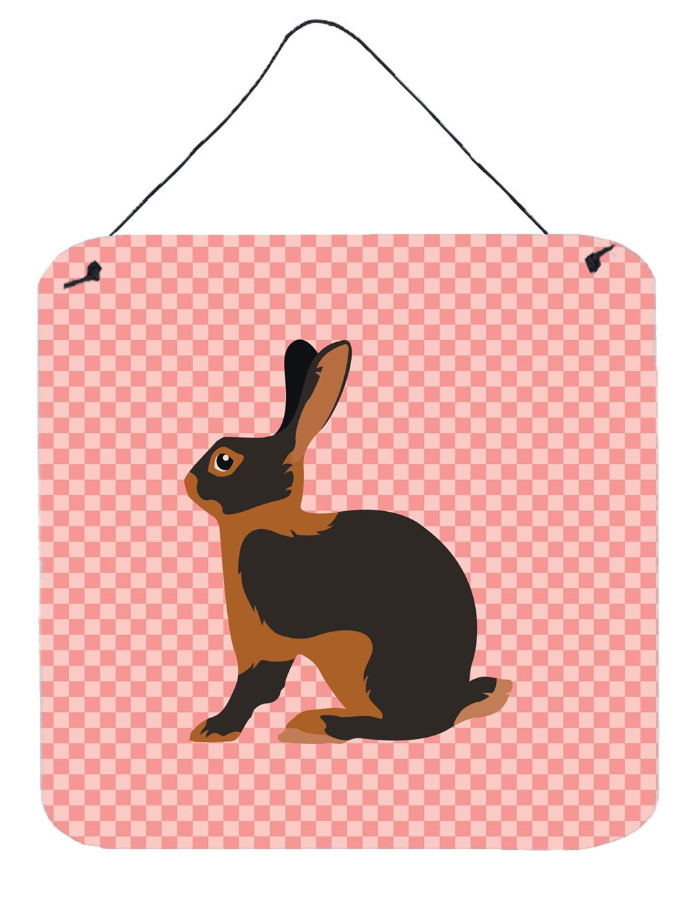 Tan Rabbit Pink Check Wall or Door Hanging Prints BB7963DS66 by Caroline's Treasures