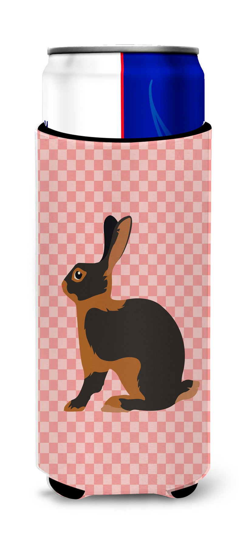 Buy this Tan Rabbit Pink Check Michelob Ultra Hugger for slim cans