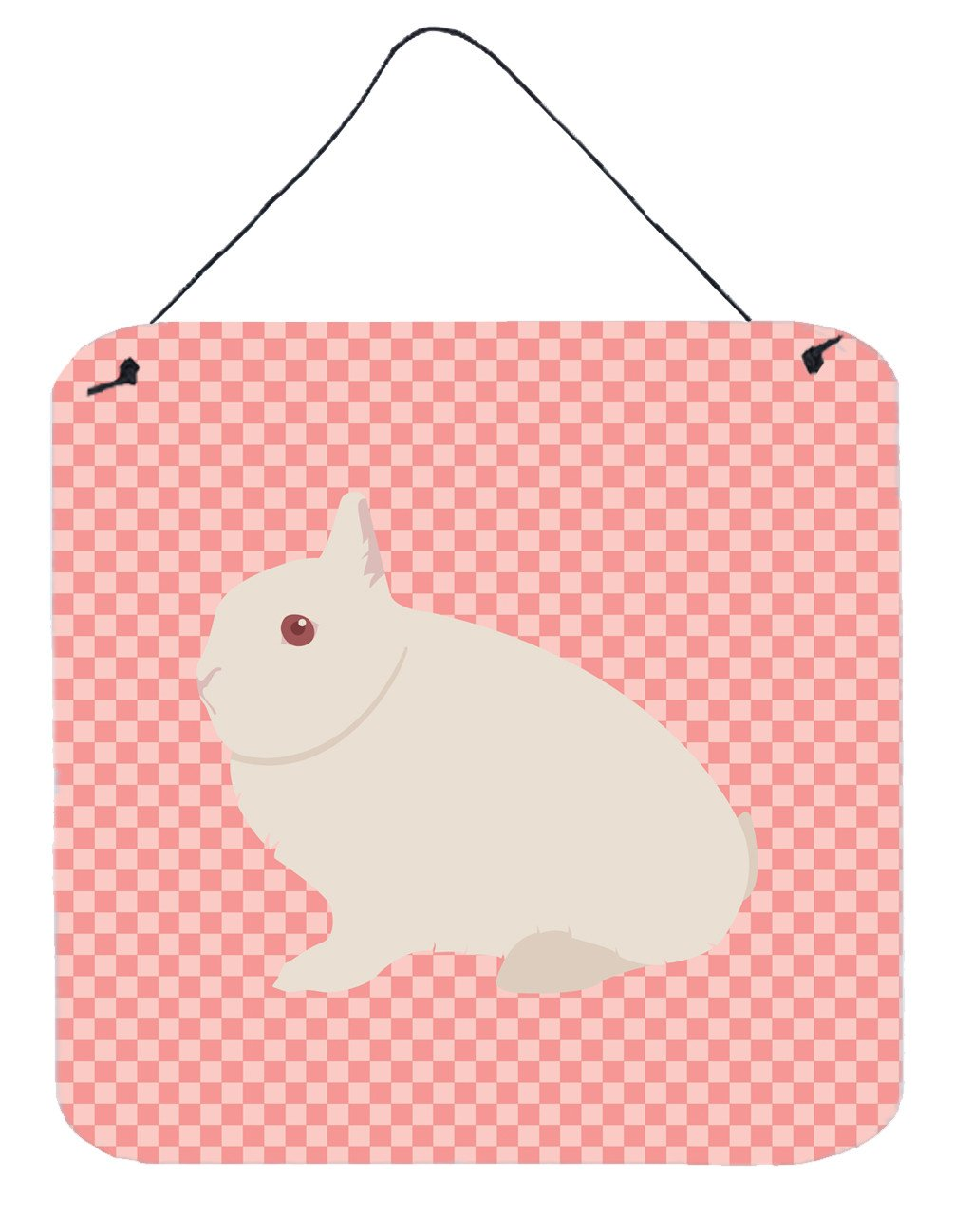 Hermelin Rabbit Pink Check Wall or Door Hanging Prints BB7964DS66 by Caroline's Treasures