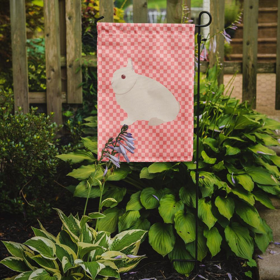 Buy this Hermelin Rabbit Pink Check Flag Garden Size