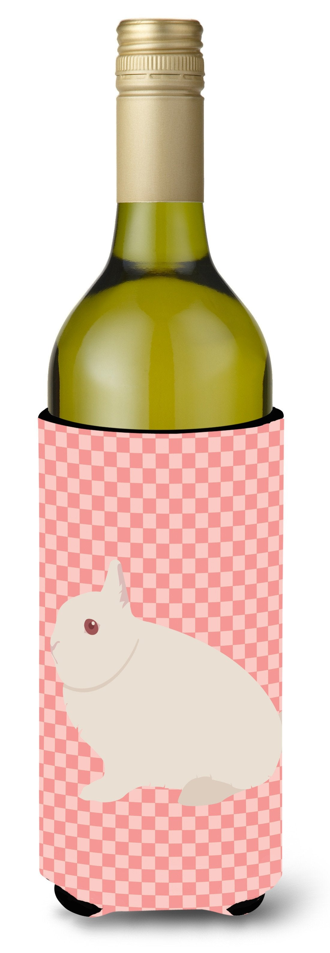 Hermelin Rabbit Pink Check Wine Bottle Beverge Insulator Hugger BB7964LITERK by Caroline's Treasures