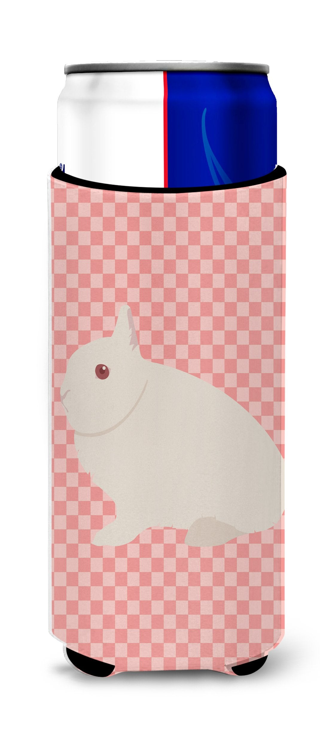Hermelin Rabbit Pink Check Michelob Ultra Hugger for slim cans by Caroline's Treasures