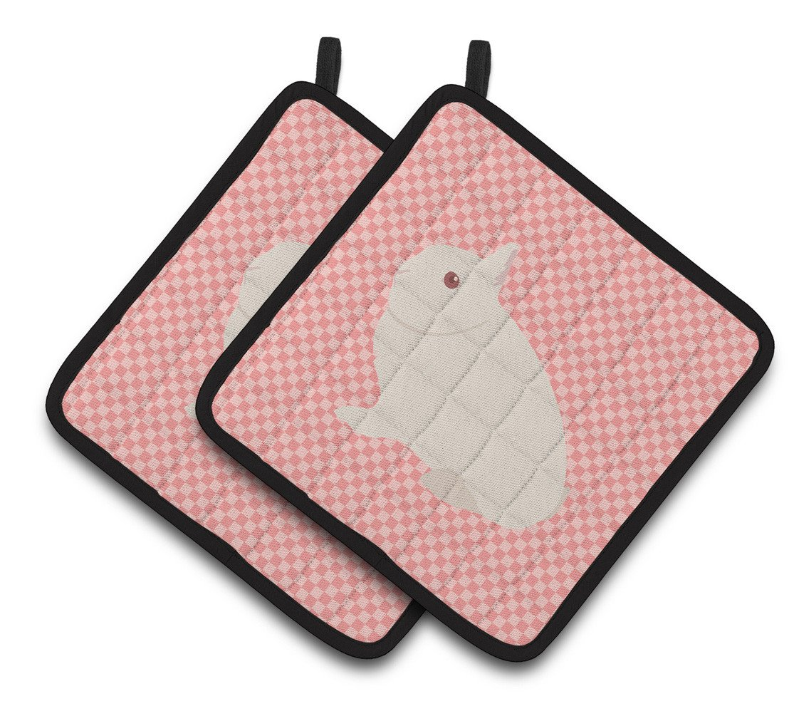 Hermelin Rabbit Pink Check Pair of Pot Holders BB7964PTHD by Caroline's Treasures