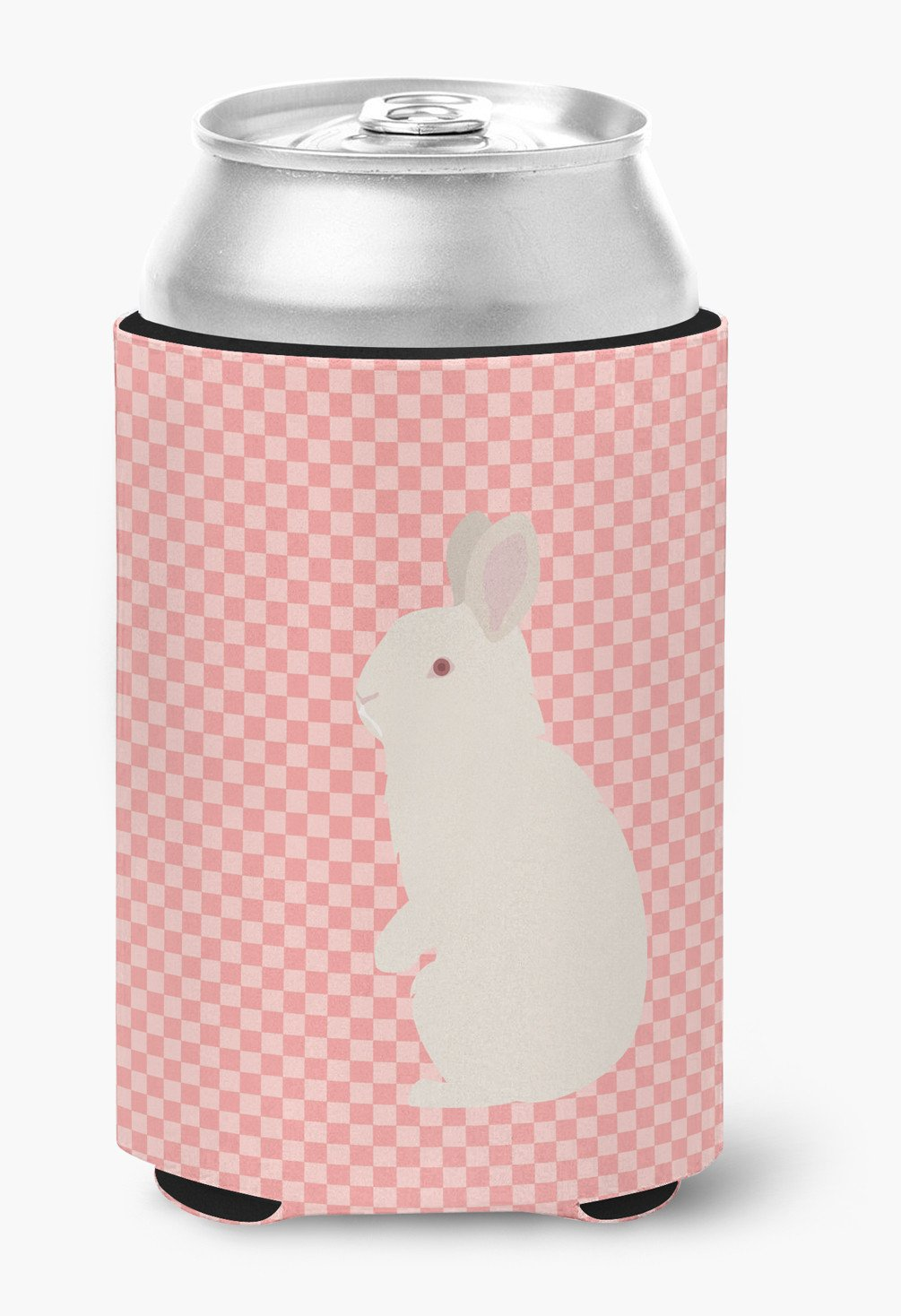 New Zealand White Rabbit Pink Check Can or Bottle Hugger BB7965CC by Caroline's Treasures