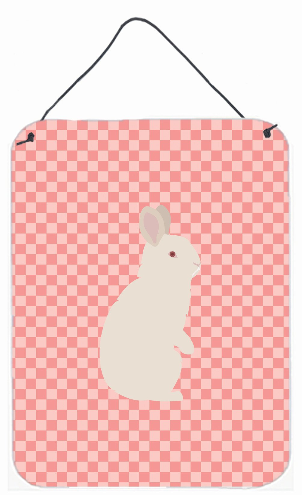 New Zealand White Rabbit Pink Check Wall or Door Hanging Prints BB7965DS1216 by Caroline's Treasures