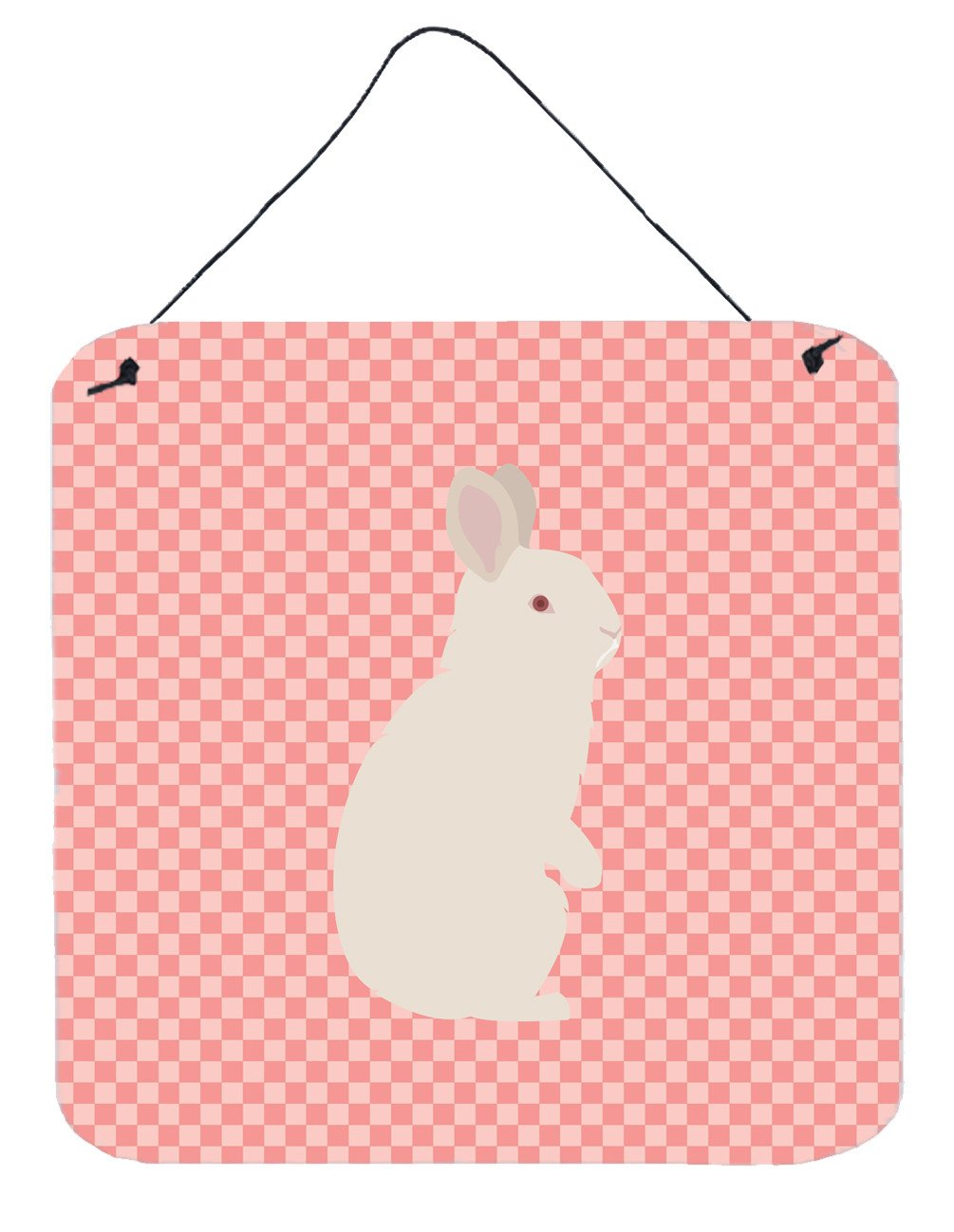 New Zealand White Rabbit Pink Check Wall or Door Hanging Prints BB7965DS66 by Caroline's Treasures