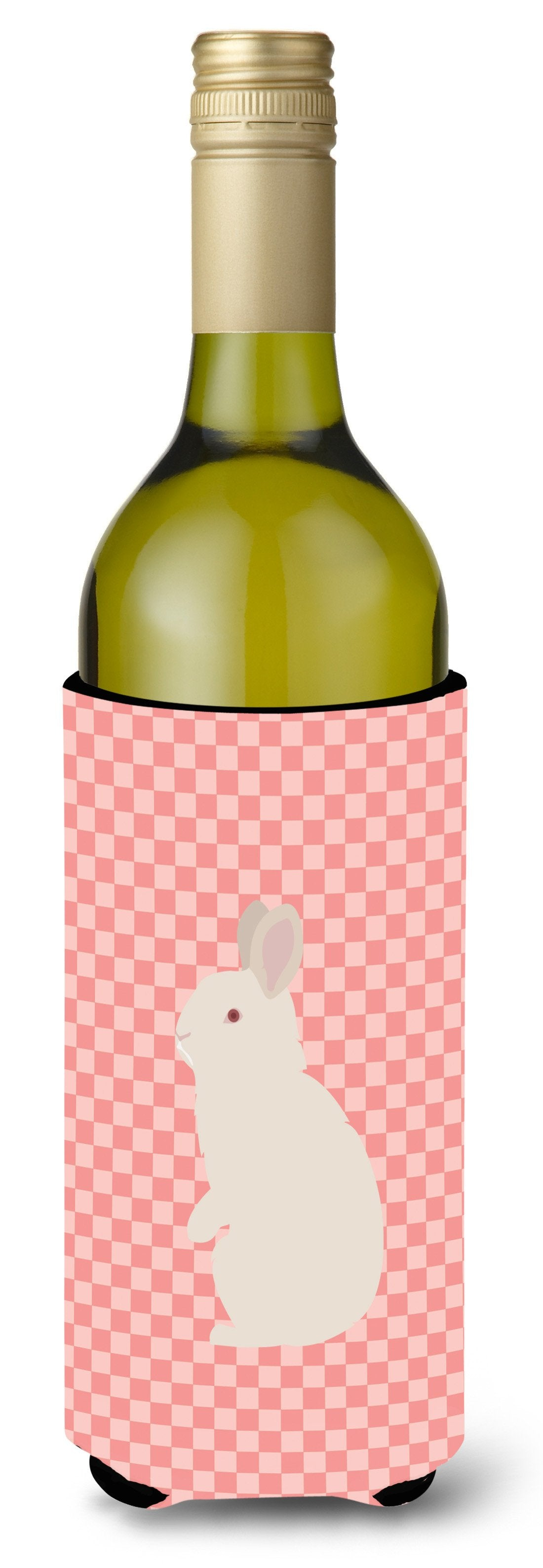 New Zealand White Rabbit Pink Check Wine Bottle Beverge Insulator Hugger BB7965LITERK by Caroline's Treasures