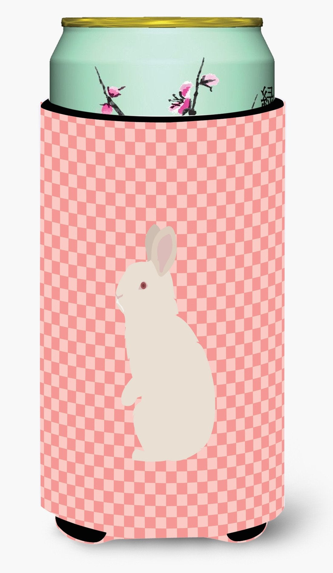 New Zealand White Rabbit Pink Check Tall Boy Beverage Insulator Hugger BB7965TBC by Caroline's Treasures