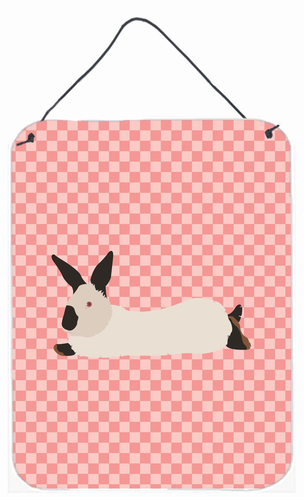 California White Rabbit Pink Check Wall or Door Hanging Prints BB7967DS1216 by Caroline's Treasures