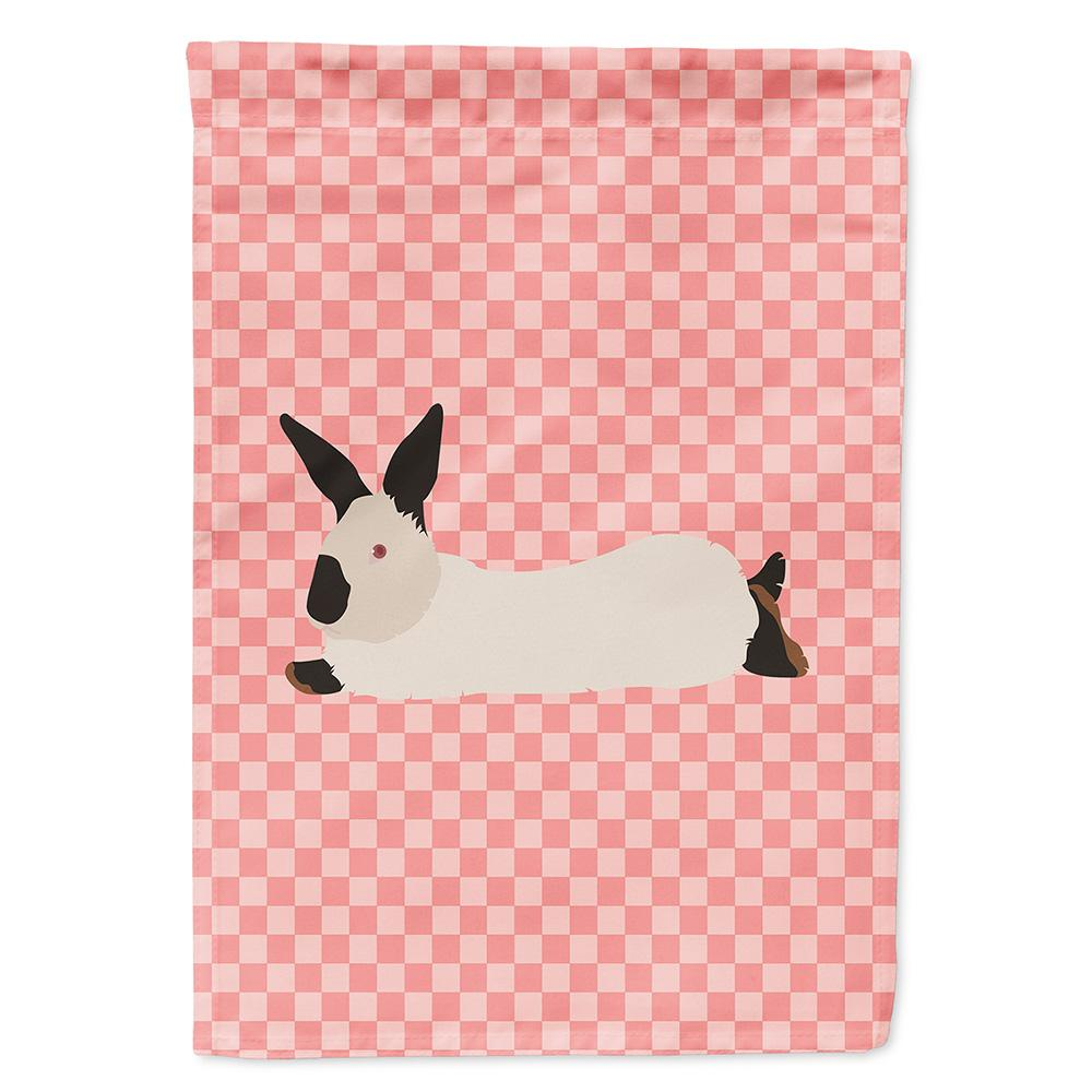 California White Rabbit Pink Check Flag Garden Size by Caroline's Treasures
