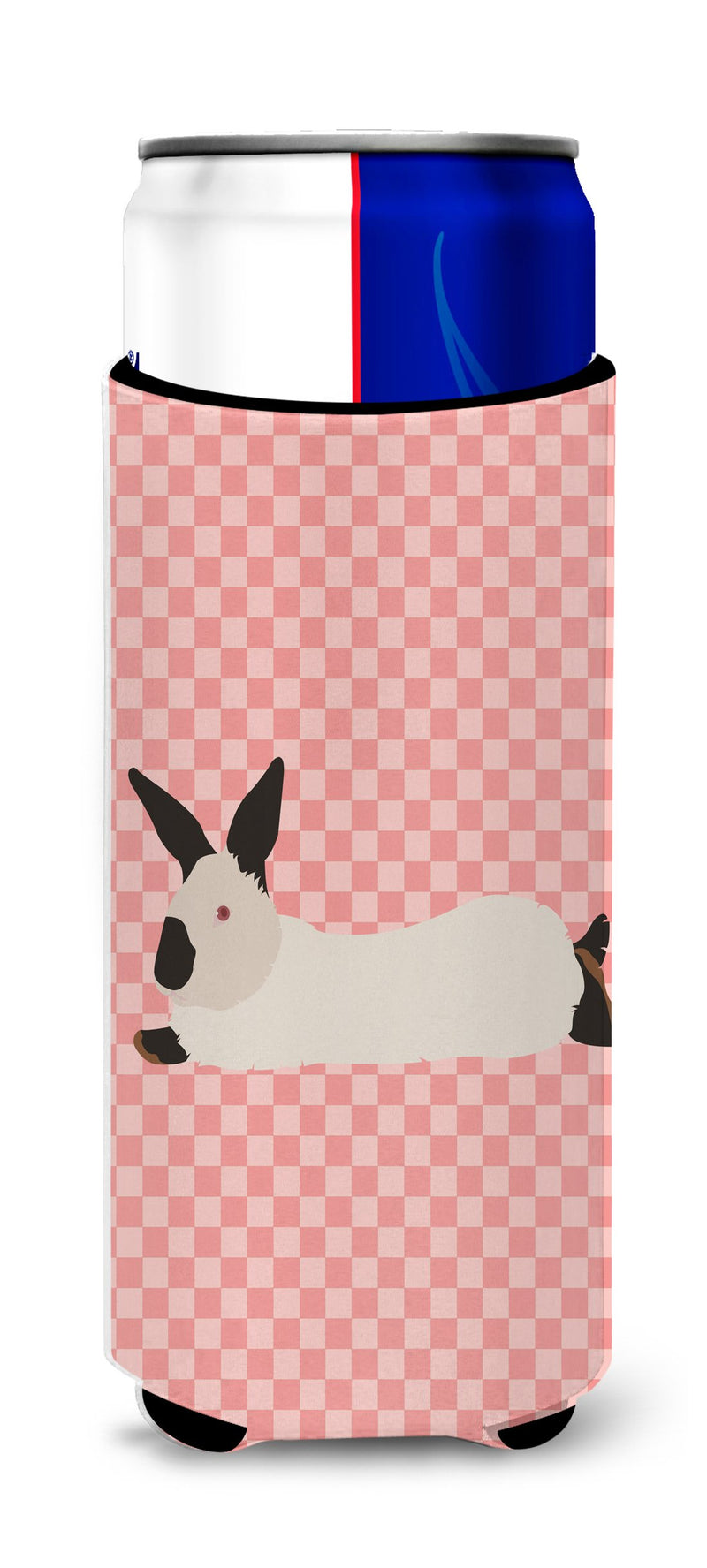Buy this California White Rabbit Pink Check Michelob Ultra Hugger for slim cans