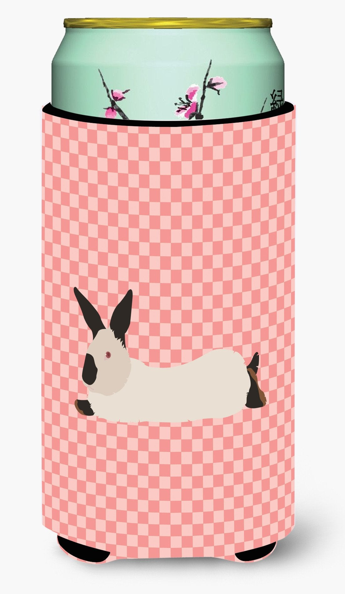 California White Rabbit Pink Check Tall Boy Beverage Insulator Hugger BB7967TBC by Caroline's Treasures