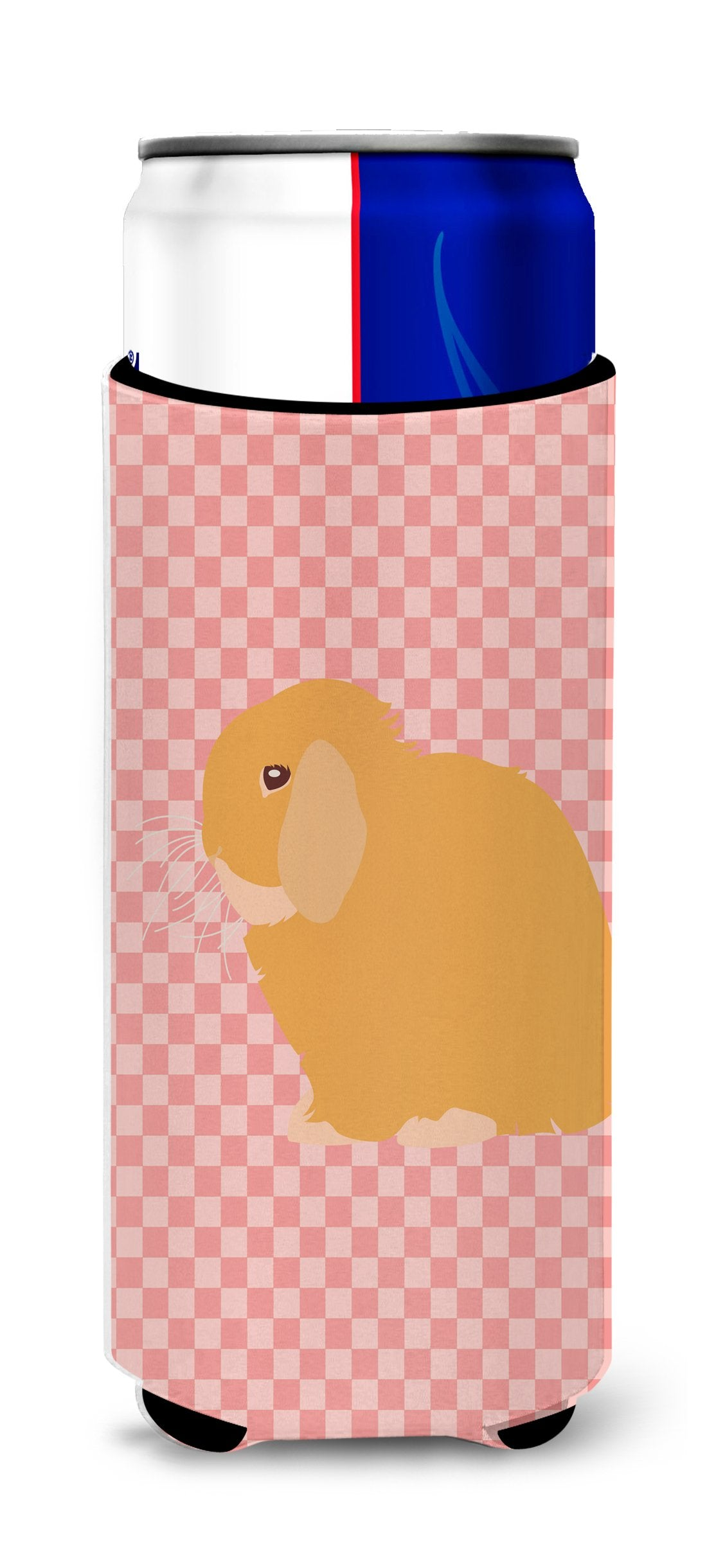 Buy this Holland Lop Rabbit Pink Check Michelob Ultra Hugger for slim cans