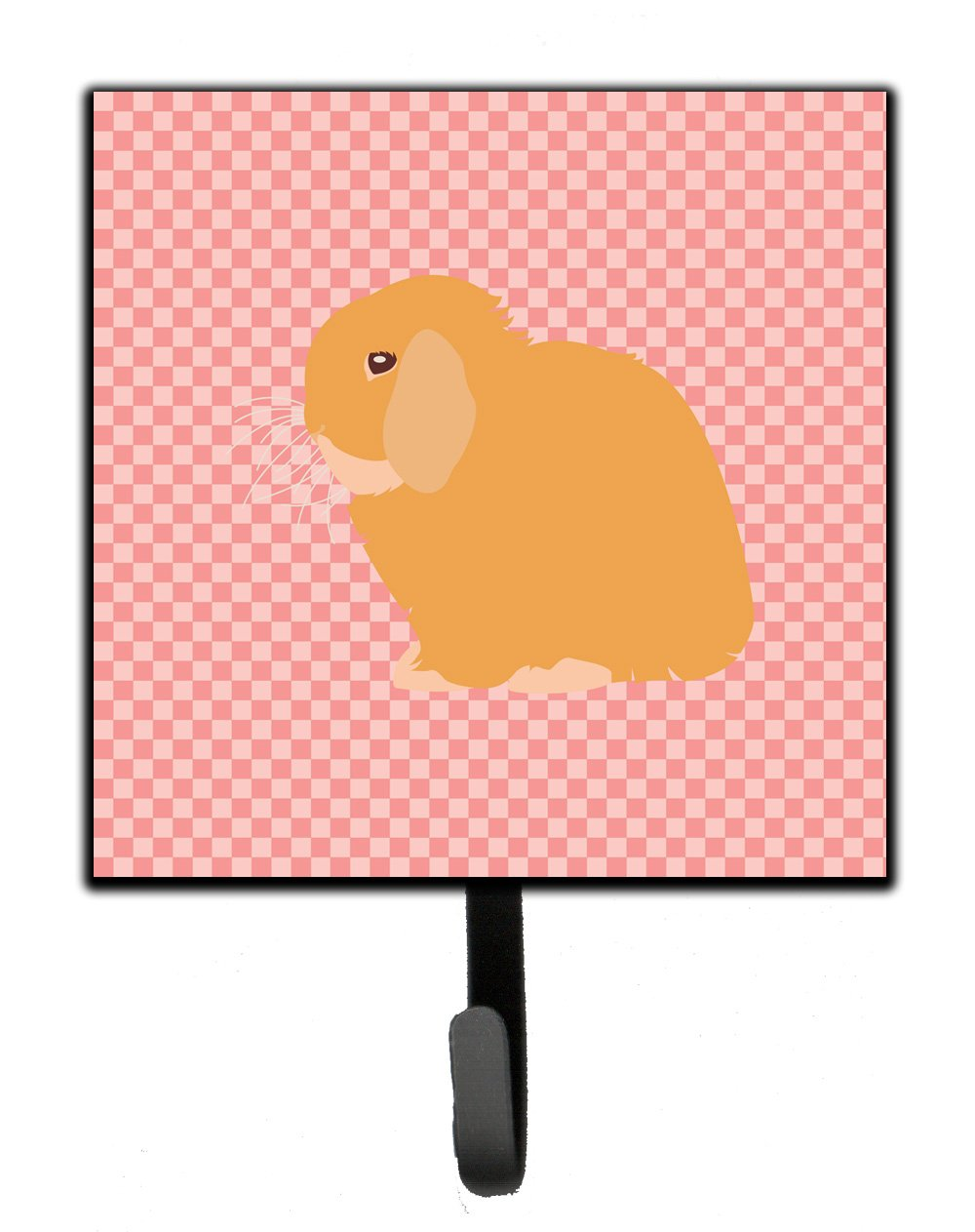 Buy this Holland Lop Rabbit Pink Check Leash or Key Holder
