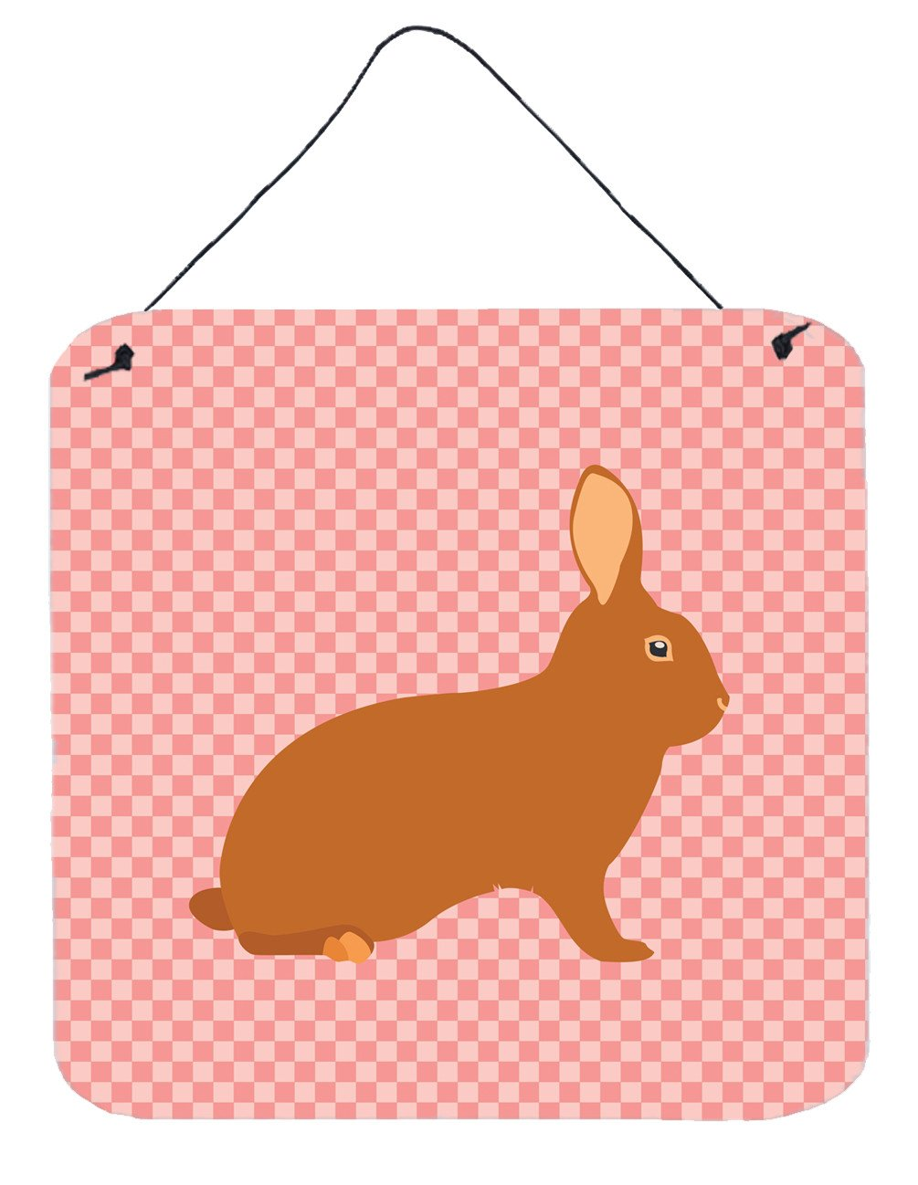 Rex Rabbit Pink Check Wall or Door Hanging Prints BB7969DS66 by Caroline's Treasures