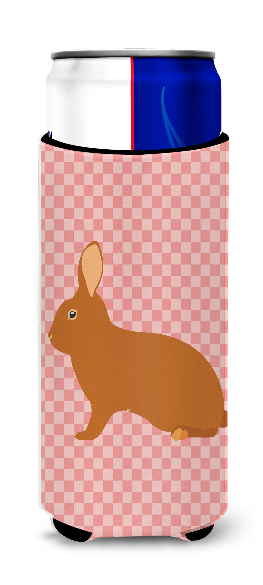 Rex Rabbit Pink Check Michelob Ultra Hugger for slim cans by Caroline's Treasures