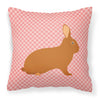 Rex Rabbit Pink Check Fabric Decorative Pillow BB7969PW1818 by Caroline's Treasures