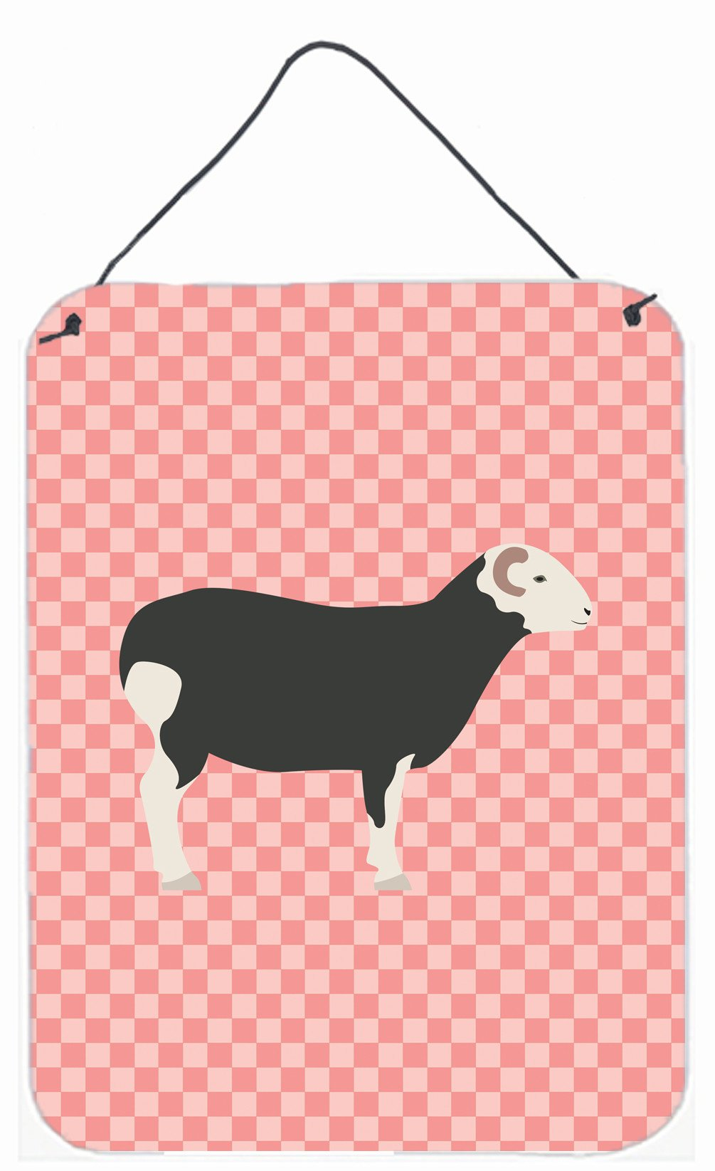 Herwick Sheep Pink Check Wall or Door Hanging Prints BB7970DS1216 by Caroline's Treasures