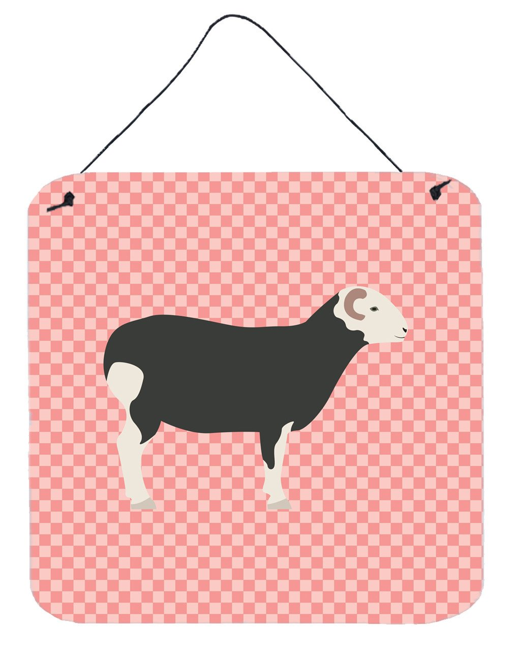 Herwick Sheep Pink Check Wall or Door Hanging Prints BB7970DS66 by Caroline's Treasures