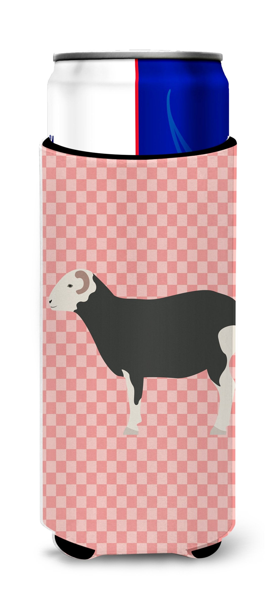 Herwick Sheep Pink Check Michelob Ultra Hugger for slim cans by Caroline's Treasures