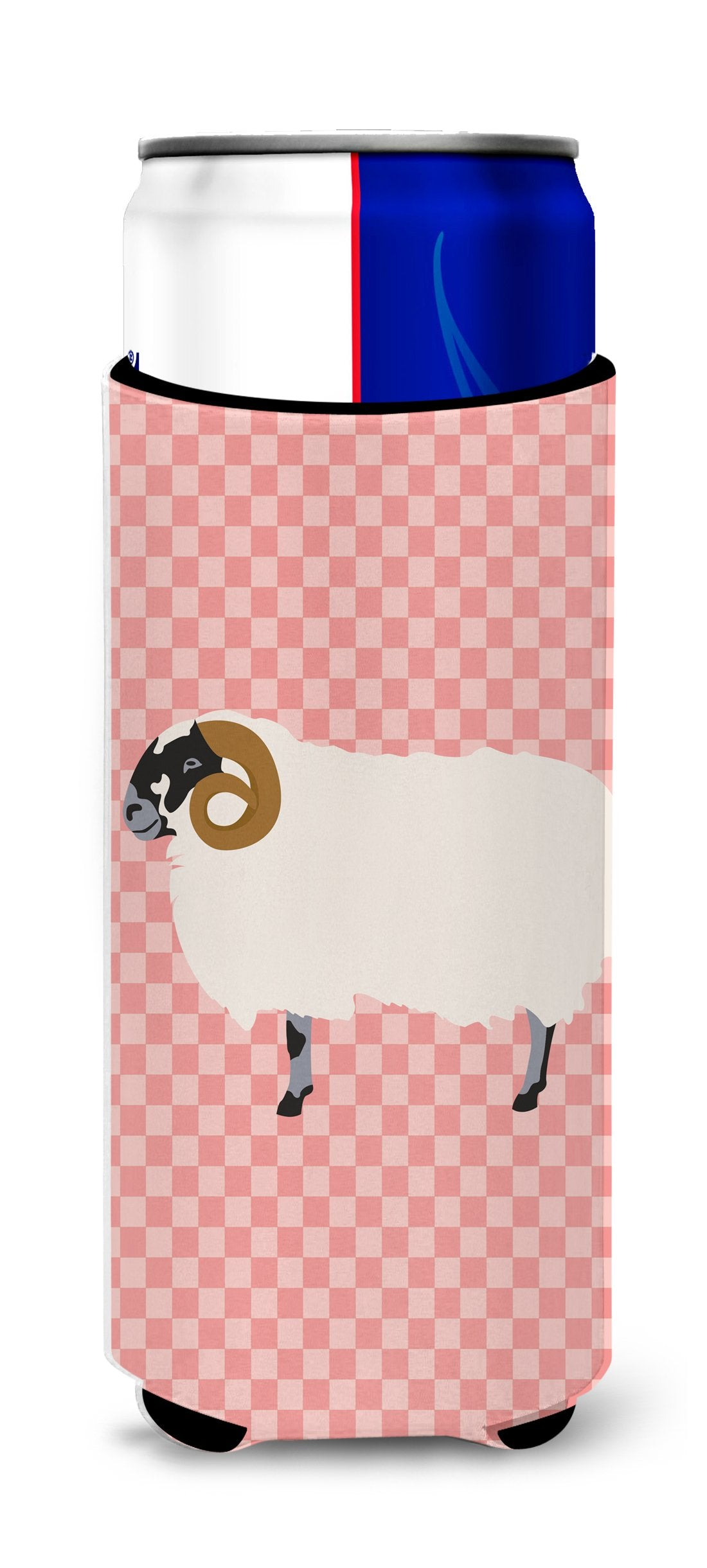 Scottish Blackface Sheep Pink Check Michelob Ultra Hugger for slim cans by Caroline's Treasures