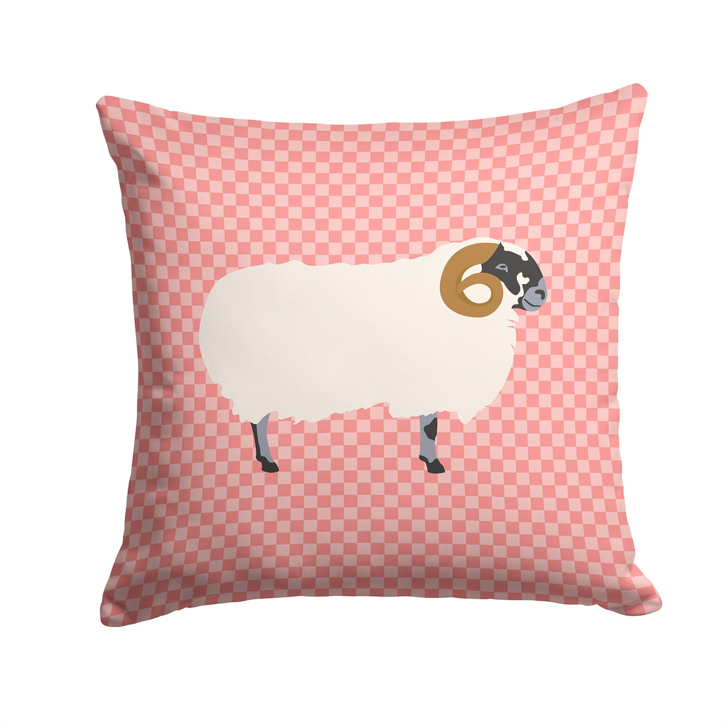 Scottish Blackface Sheep Pink Check Fabric Decorative Pillow BB7973PW1414 by Caroline's Treasures