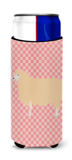 Buy this English Leicester Longwool Sheep Pink Check Michelob Ultra Hugger for slim cans