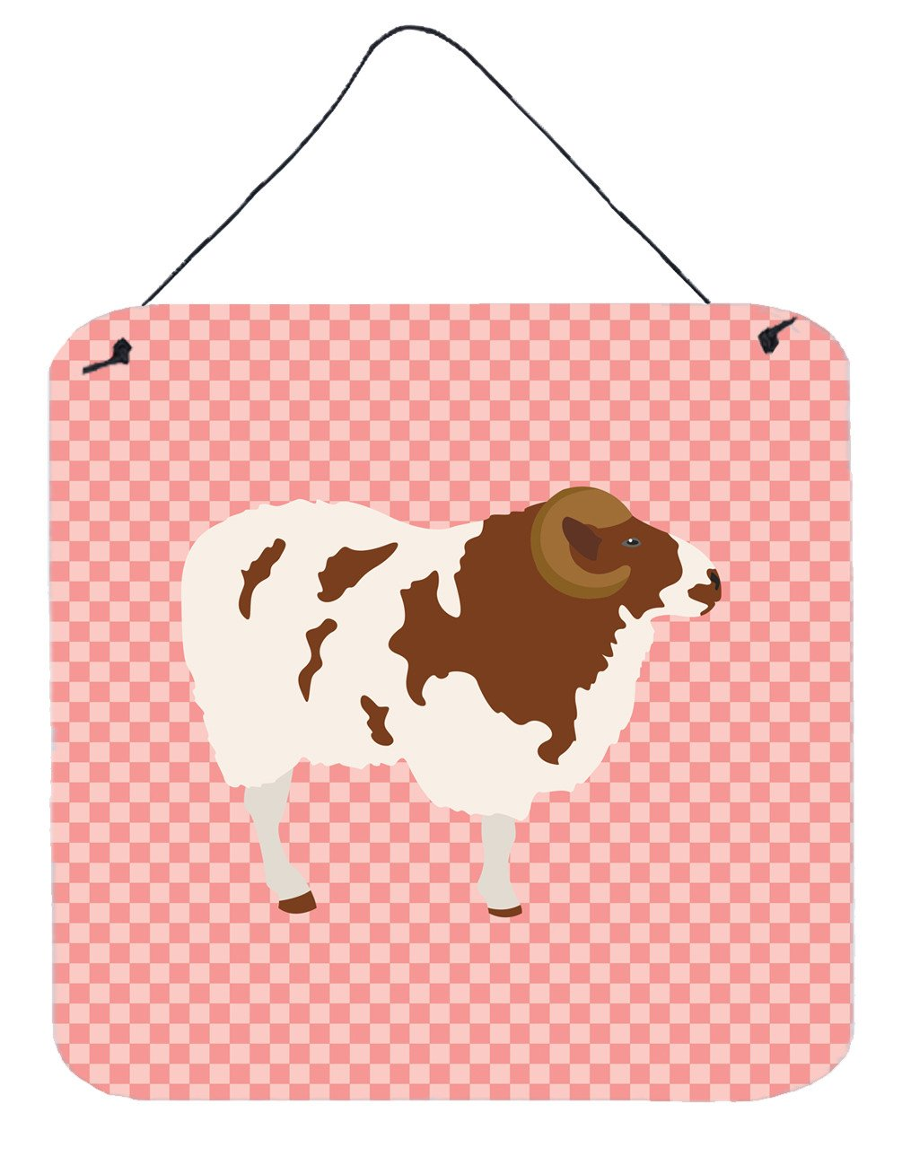 Jacob Sheep Pink Check Wall or Door Hanging Prints BB7975DS66 by Caroline's Treasures