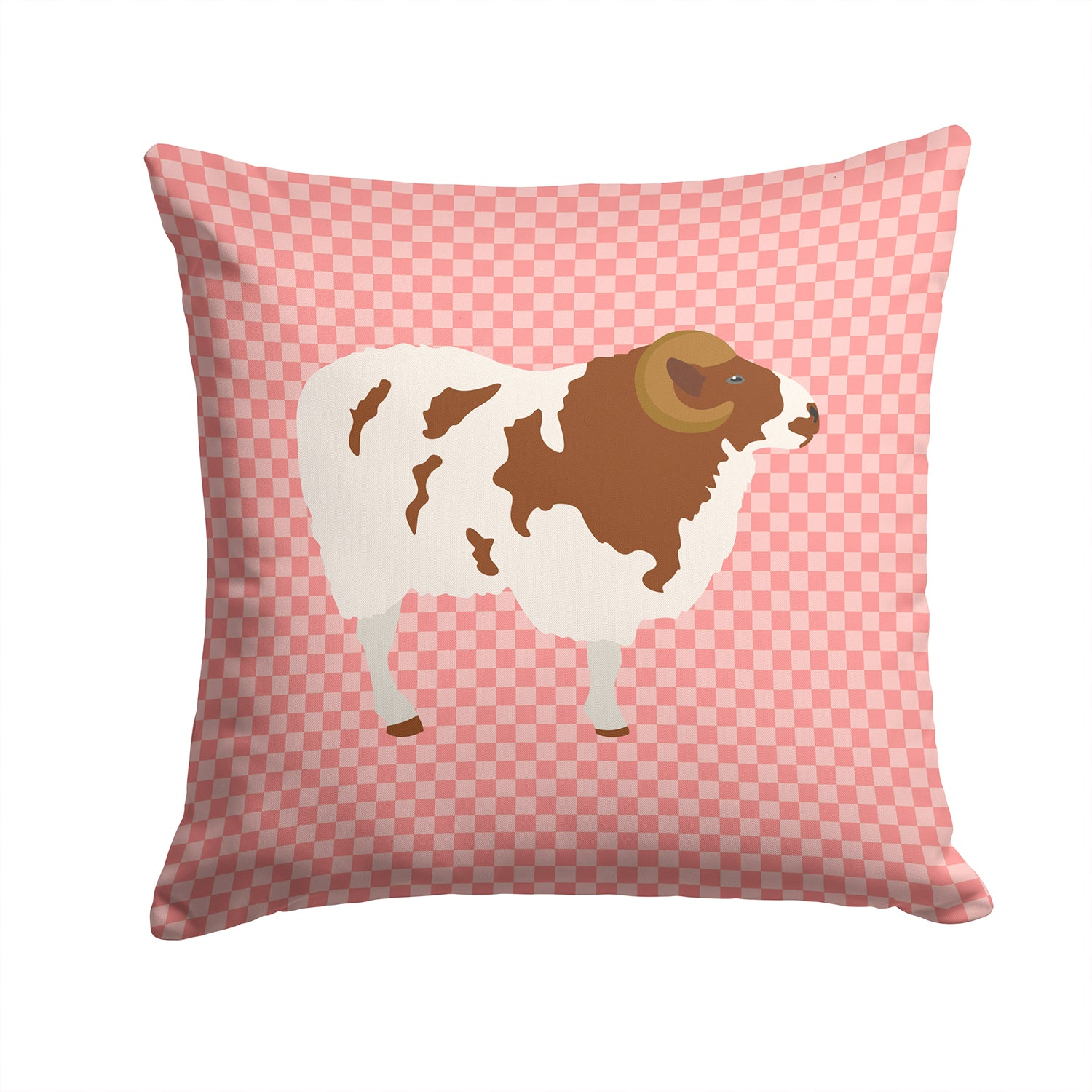 Jacob Sheep Pink Check Fabric Decorative Pillow BB7975PW1414 by Caroline's Treasures
