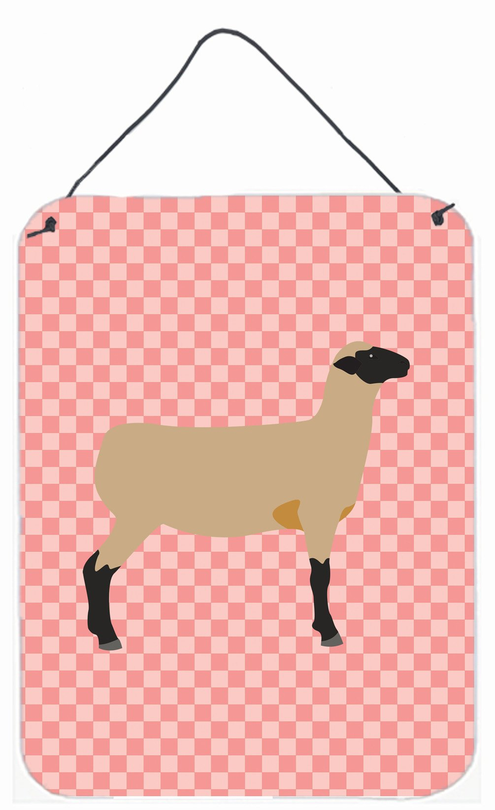 Hampshire Down Sheep Pink Check Wall or Door Hanging Prints BB7976DS1216 by Caroline's Treasures