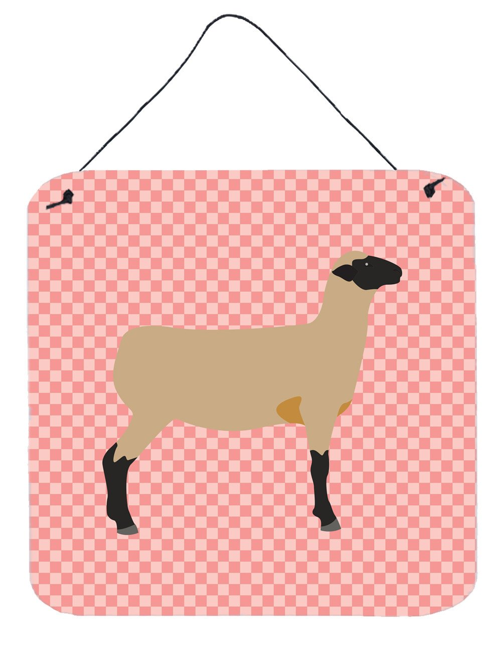 Hampshire Down Sheep Pink Check Wall or Door Hanging Prints BB7976DS66 by Caroline's Treasures