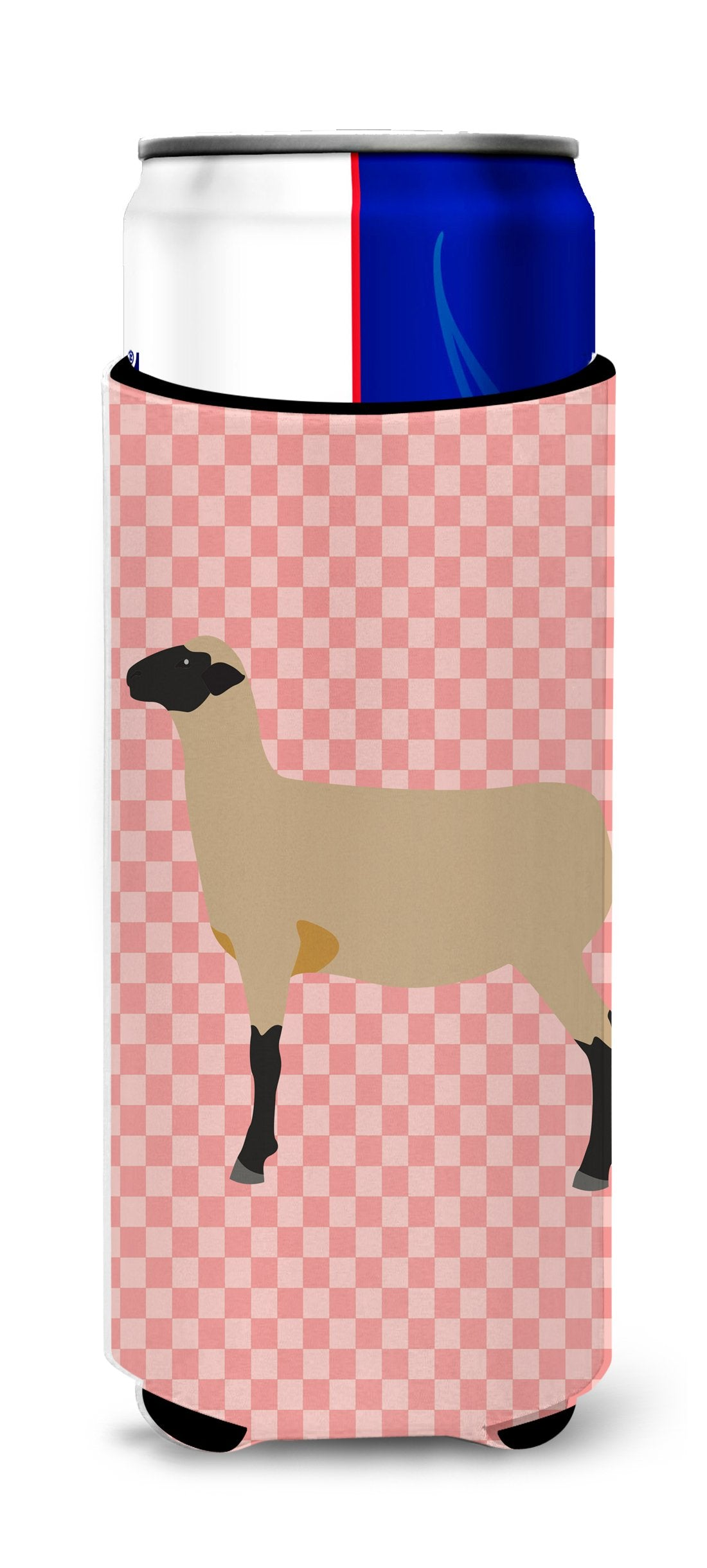 Hampshire Down Sheep Pink Check Michelob Ultra Hugger for slim cans by Caroline's Treasures