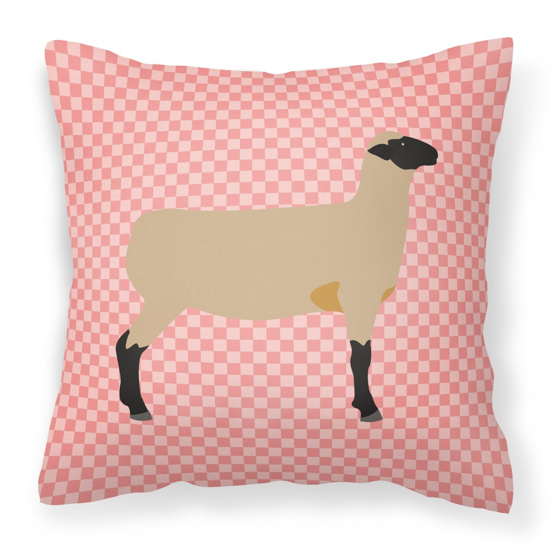 Hampshire Down Sheep Pink Check Fabric Decorative Pillow BB7976PW1818 by Caroline's Treasures