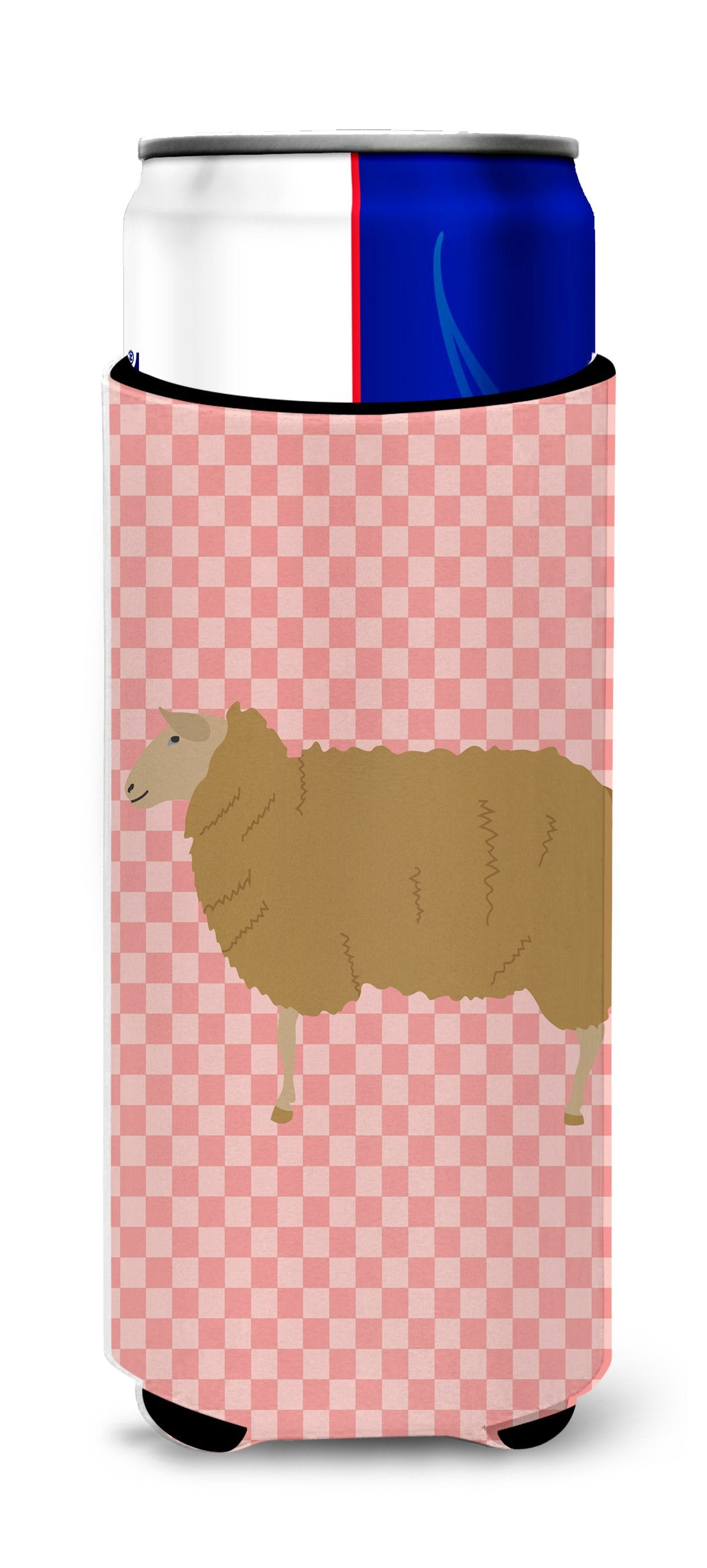 Buy this East Friesian Sheep Pink Check Michelob Ultra Hugger for slim cans