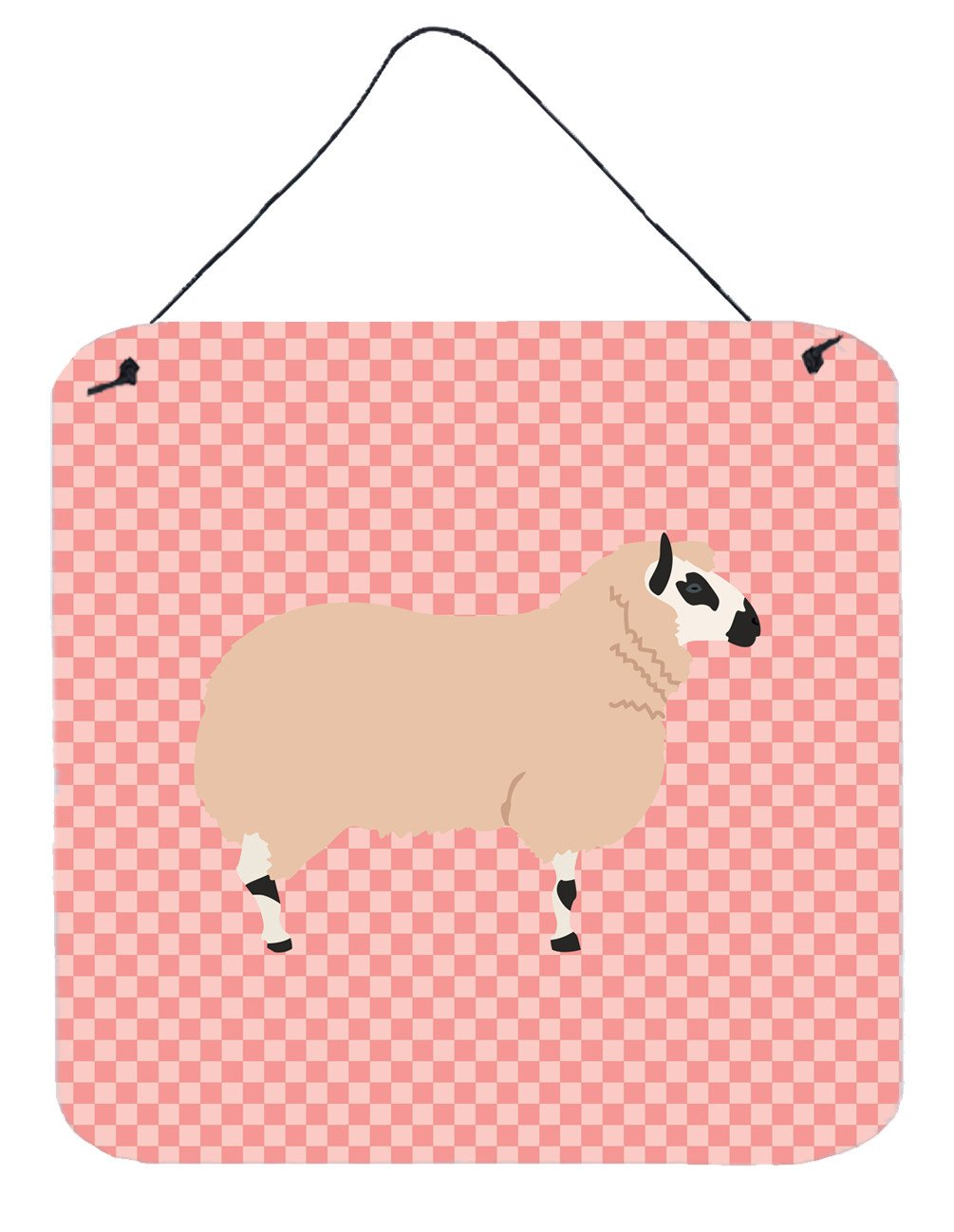Kerry Hill Sheep Pink Check Wall or Door Hanging Prints BB7979DS66 by Caroline's Treasures
