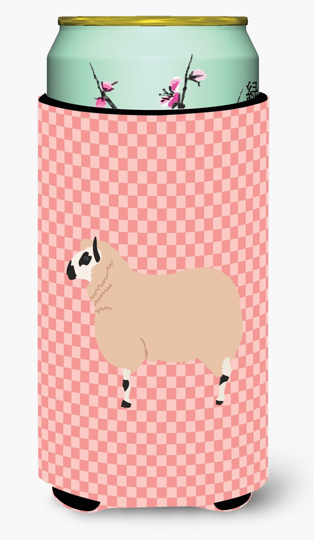 Kerry Hill Sheep Pink Check Tall Boy Beverage Insulator Hugger BB7979TBC by Caroline's Treasures