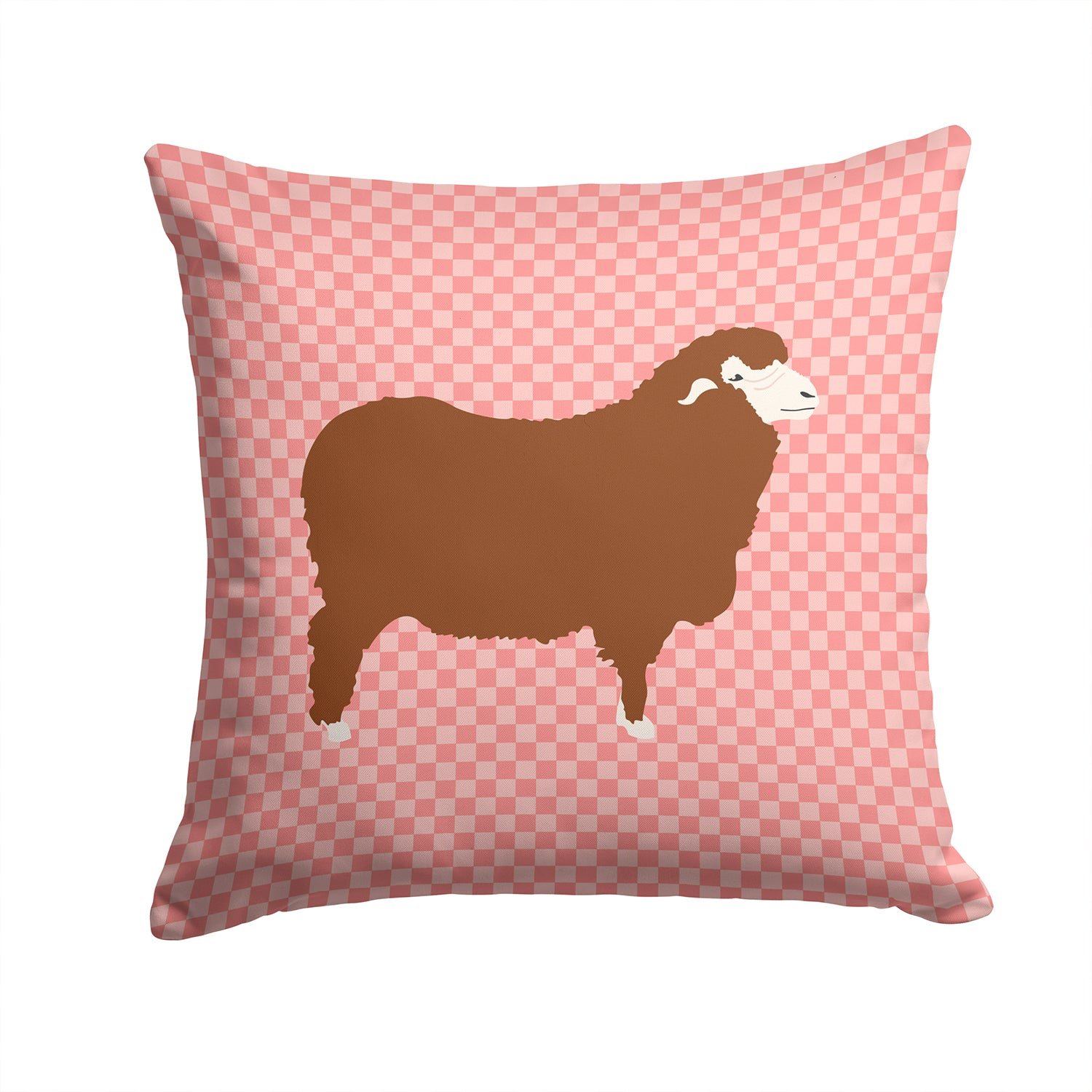 Merino Sheep Pink Check Fabric Decorative Pillow BB7981PW1414 by Caroline's Treasures