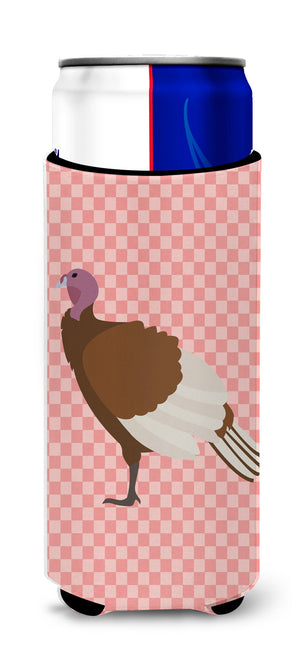 Buy this Bourbon Red Turkey Hen Pink Check Michelob Ultra Hugger for slim cans