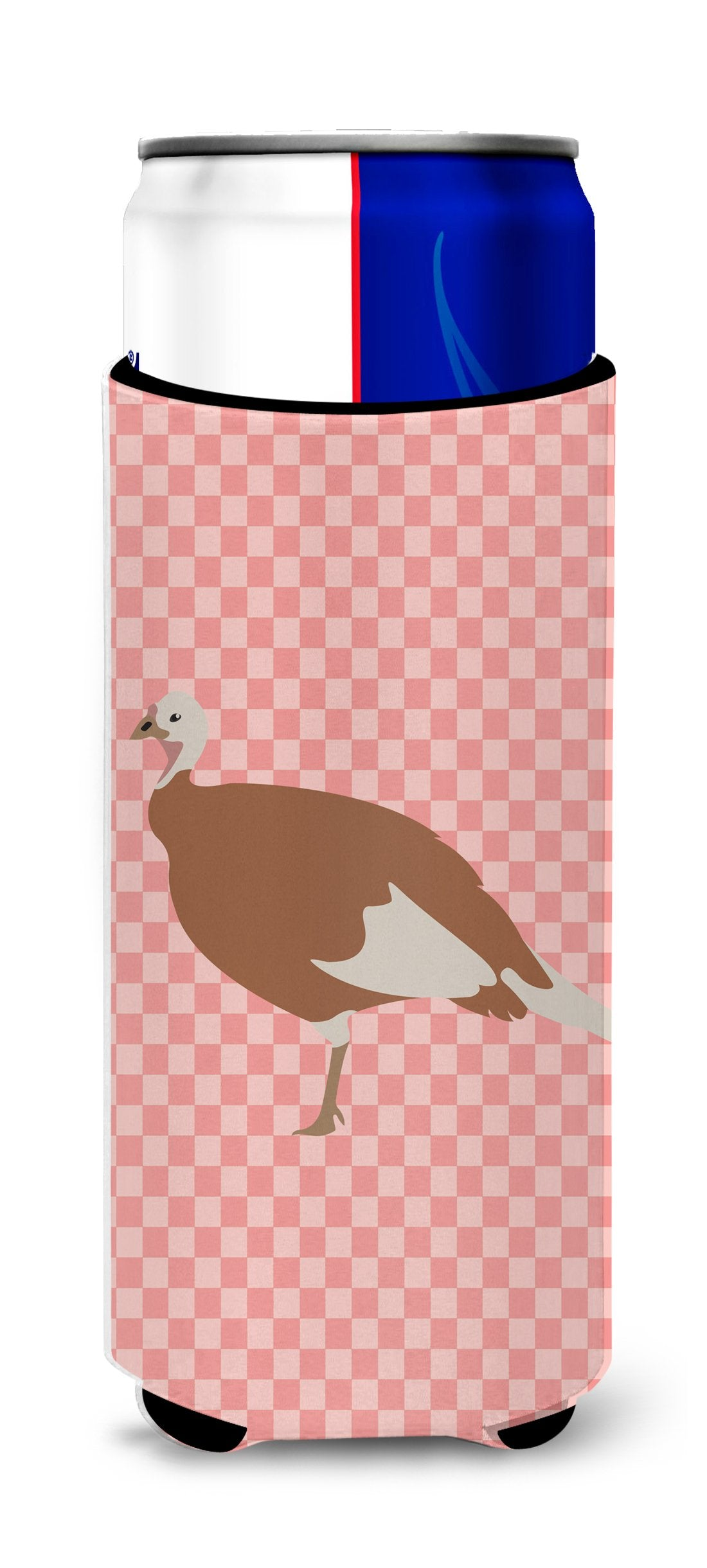 Jersey Buff Turkey Hen Pink Check Michelob Ultra Hugger for slim cans by Caroline's Treasures