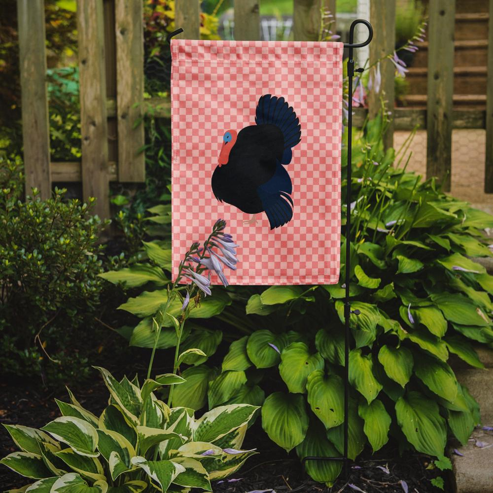 Norfolk Black Turkey Pink Check Flag Garden Size BB7985GF by Caroline's Treasures