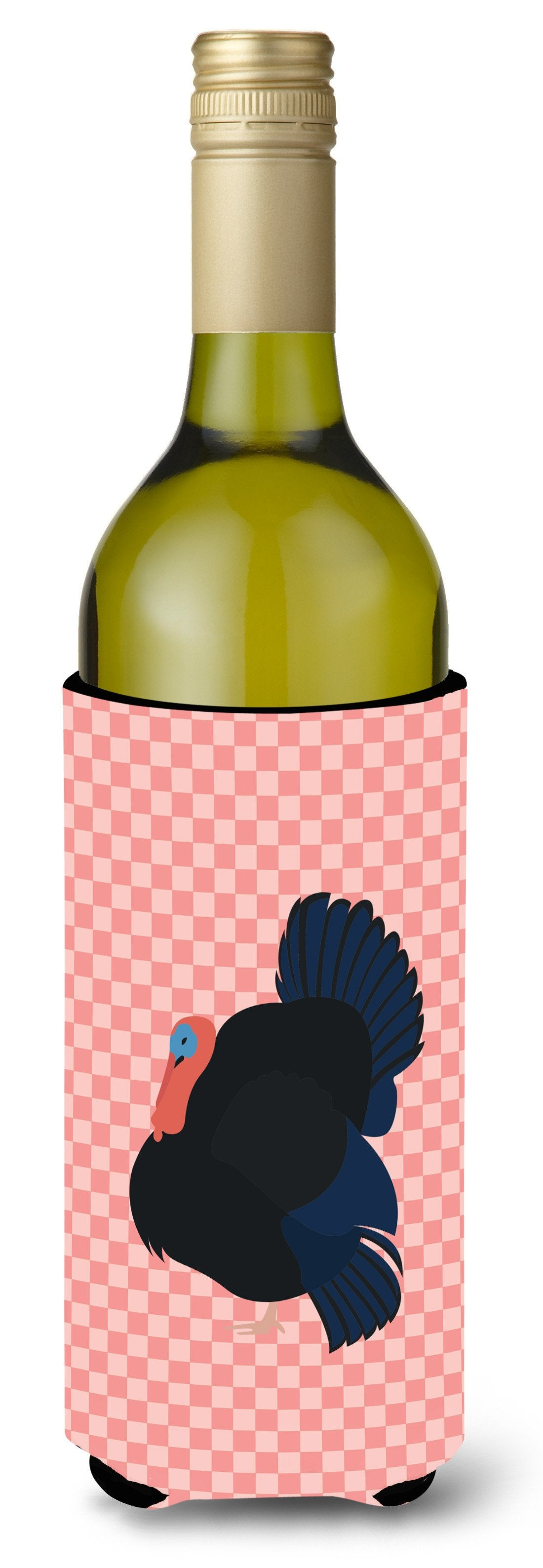 Norfolk Black Turkey Pink Check Wine Bottle Beverge Insulator Hugger BB7985LITERK by Caroline's Treasures