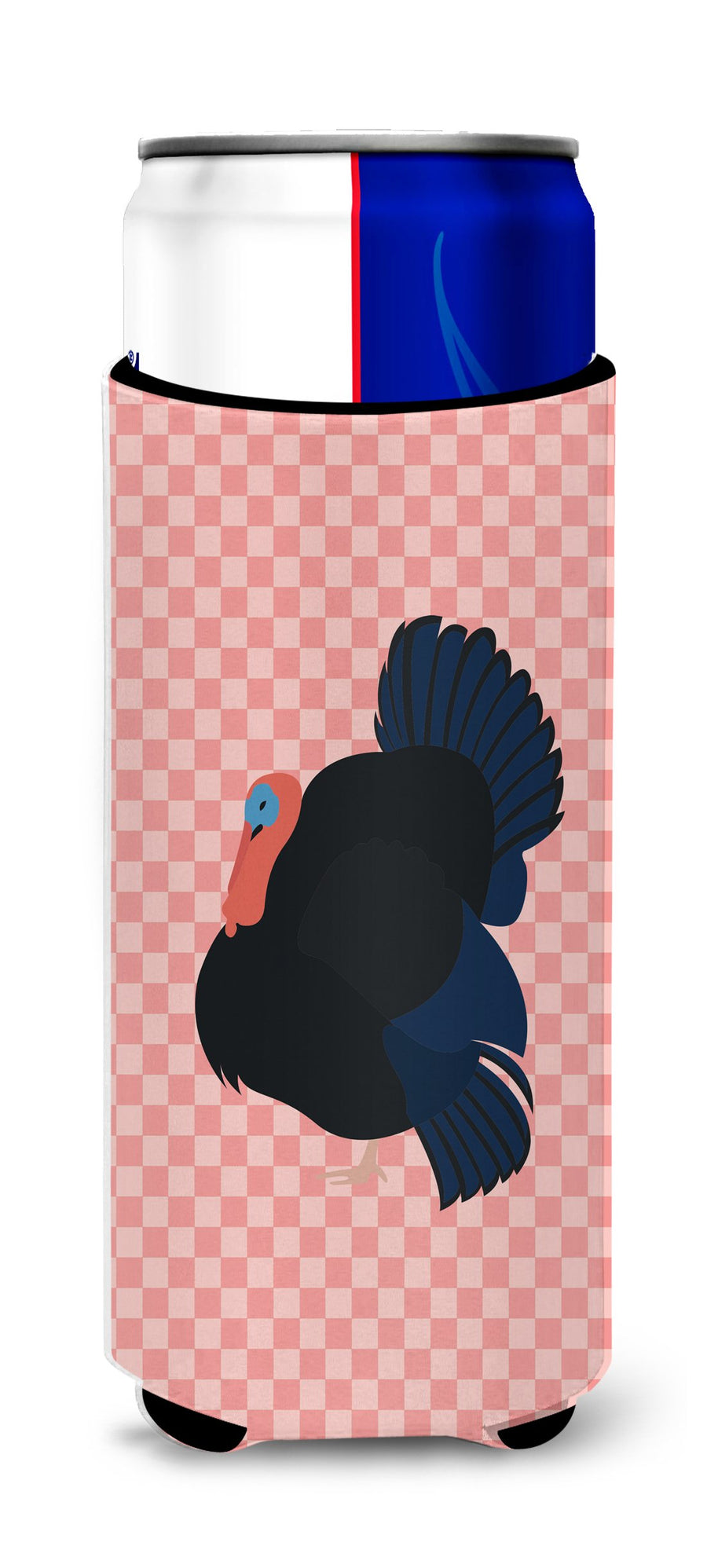 Buy this Norfolk Black Turkey Pink Check Michelob Ultra Hugger for slim cans