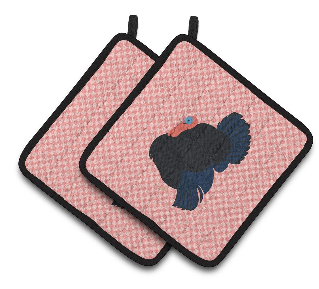 Norfolk Black Turkey Pink Check Pair of Pot Holders BB7985PTHD by Caroline's Treasures